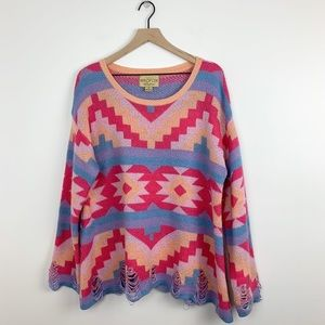 Wildfox | Desert Drive Poncho in Acid Pink Sweater
